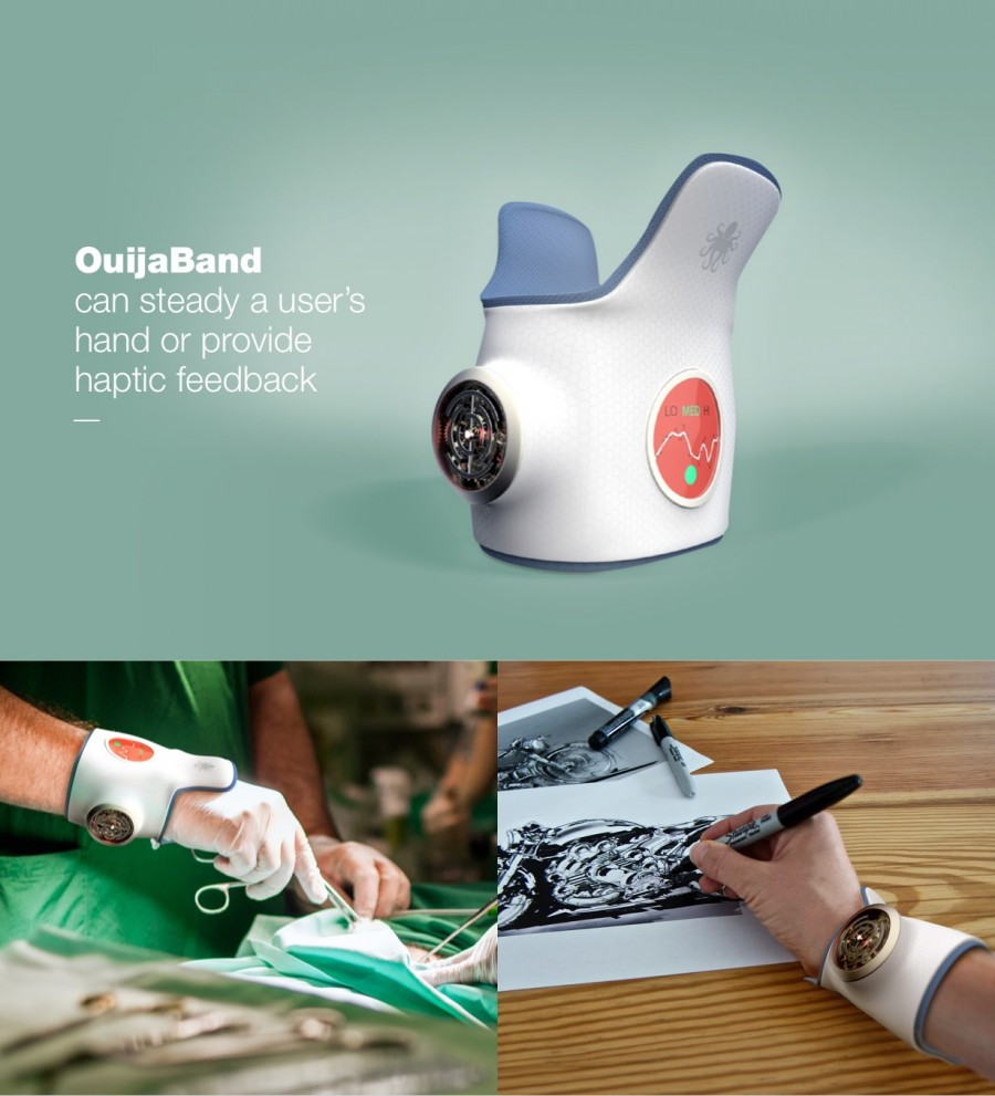 a white hand wears a wrist device while performing surgery/drafting on paper