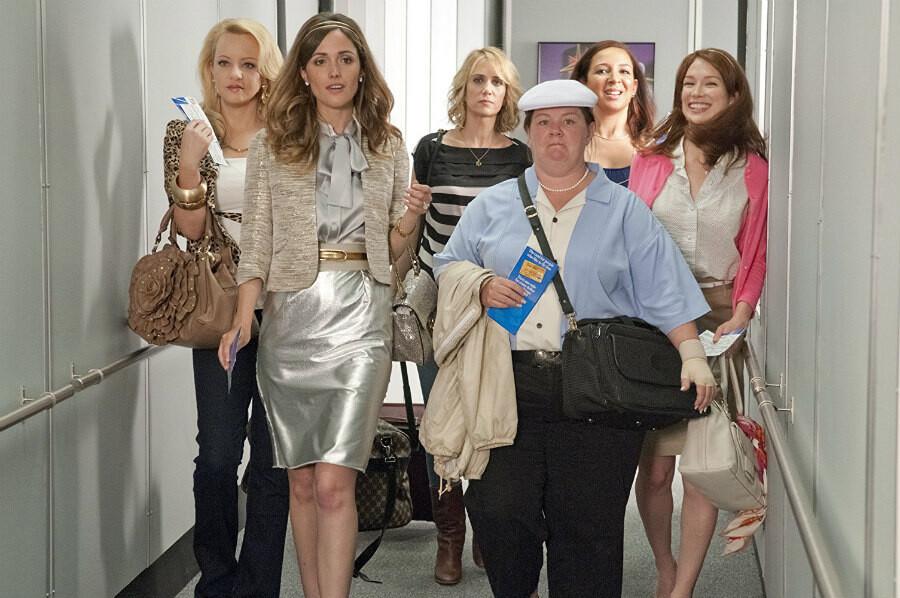 Rose Byrne, Melissa McCarthy, Maya Rudolph, Wendi McLendon-Covey, Kristen Wiig, and Ellie Kemper in Bridesmaids