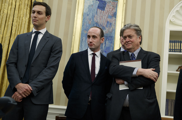 left to right: Jared Kushner, Stephen Miller, and Steve Bannon in the Oval Office
