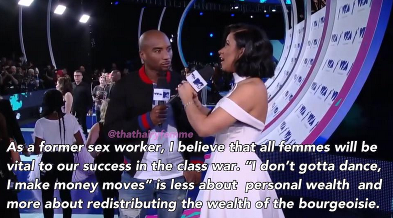 photo of Cardi B interviewed on an awards-show stage