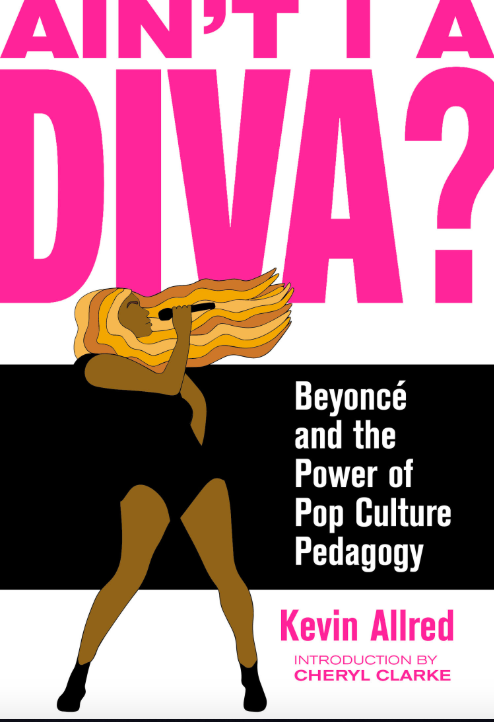 a white book cover with pink letters and an illustration of a Black woman wearing a black leotard