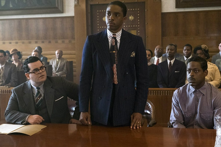 Sterling K. Brown, Josh Gad, and Chadwick Boseman in Marshall