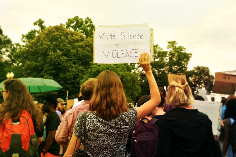 White Silence = Violence sign at White House rally