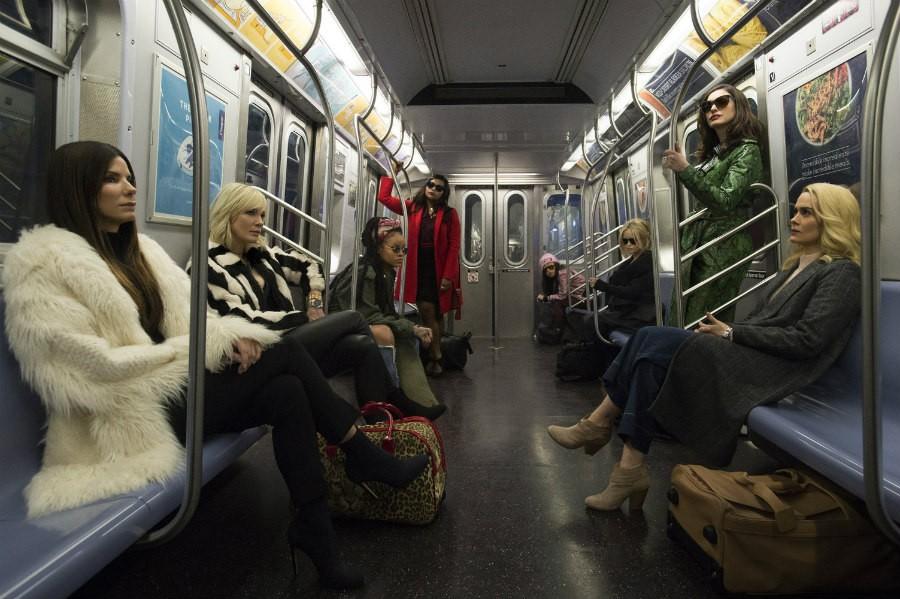 Sandra Bullock, Helena Bonham Carter, Cate Blanchett, Anne Hathaway, Sarah Paulson, Mindy Kaling, Rihanna, Awkwafina in Ocean's Eight