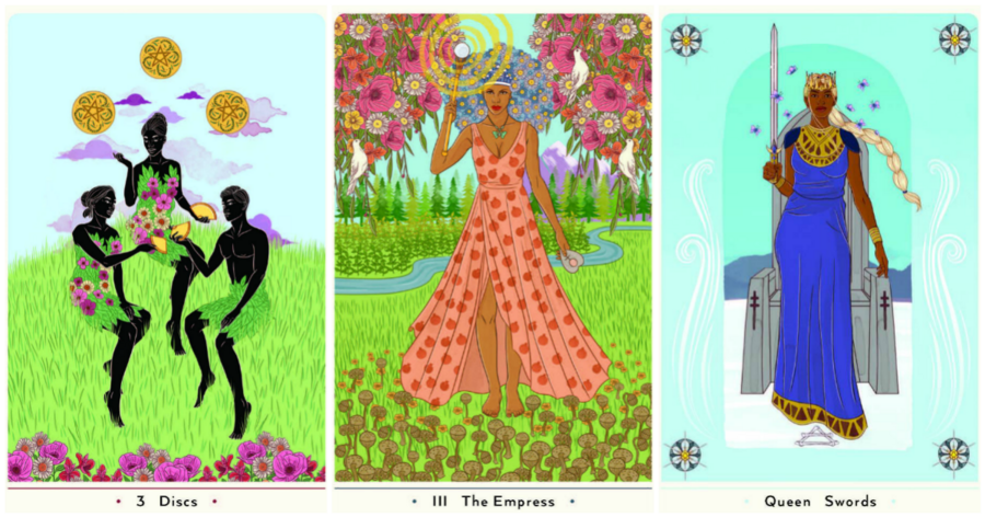 three tarot cards, 3 Discs, The Empress, and Queen of Swords, feature people of color in colorful poses against colorful backgrounds