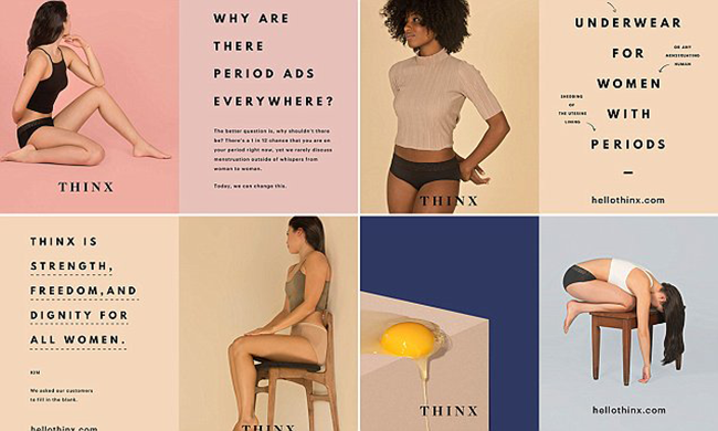 An add for Thinx. A brown woman wears the Thinx underwear; next to her, a sign reads: