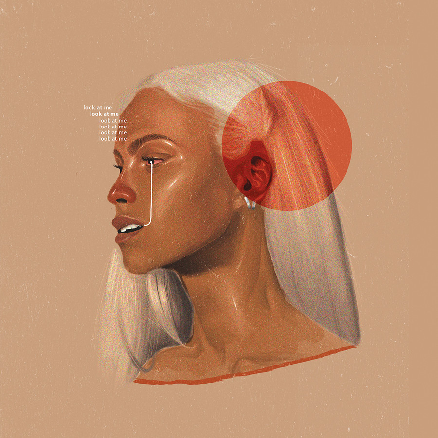 an illustration from the collarbone and up of brown, femme-presenting person with long white hair looking off to the side. A thin white line runs down from their eye to their mouth with the words