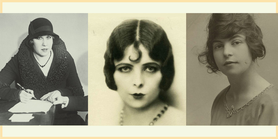 Alice Diamond, Lillian Rose Kendall, and Florrie Holmes, three white women wearing fur hats and pin curls, were members of the Forty Elephants Gang in 1916