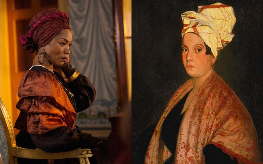Angela Bassett as Marie Laveaux in American Horror Story: Coven and portrait of Marie Laveau