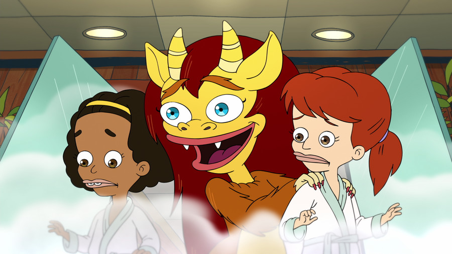 Jenny Slate as Missy, left, Maya Rudolph as Connie, the female Hormone Monster, and Jessi Klein as Jessi in Big Mouth.