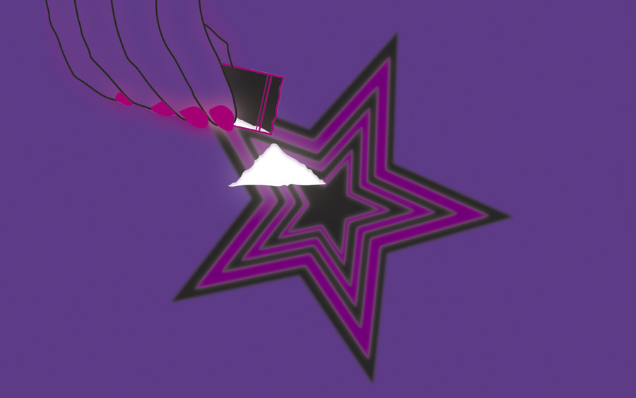 an illustration of glowing nails cutting cocaine on top of a purple and pink star