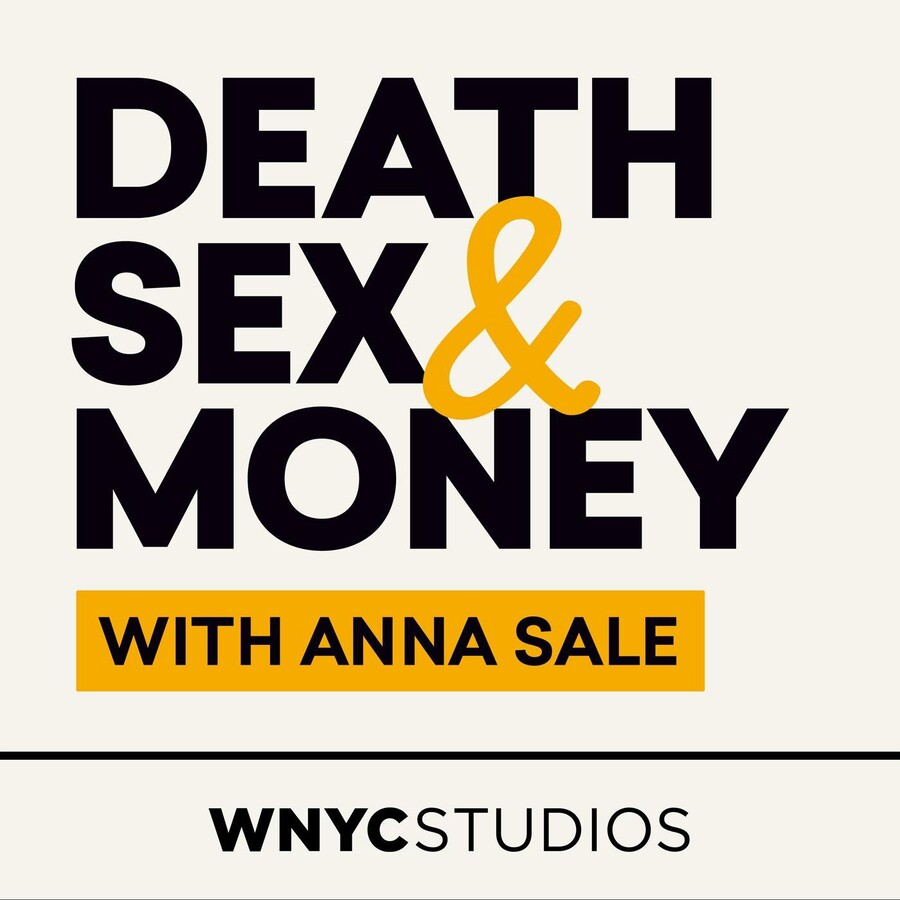 The logo for Death, Sex & Money features the phrase in mustard yellow colors