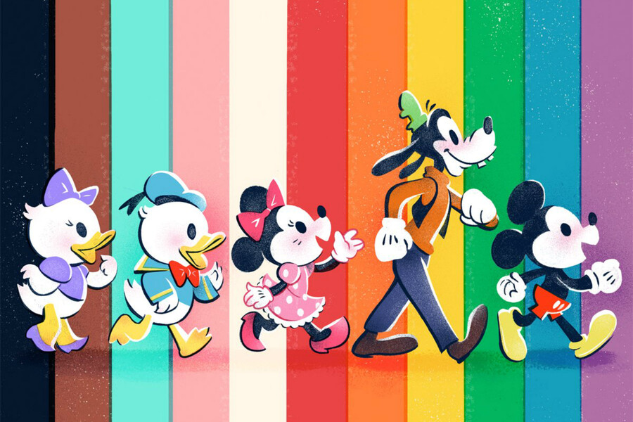 five illustrated Disney characters, including Minnie Mouse, Goofy, and Mickey Mouse walk in profile against a striped rainbow background