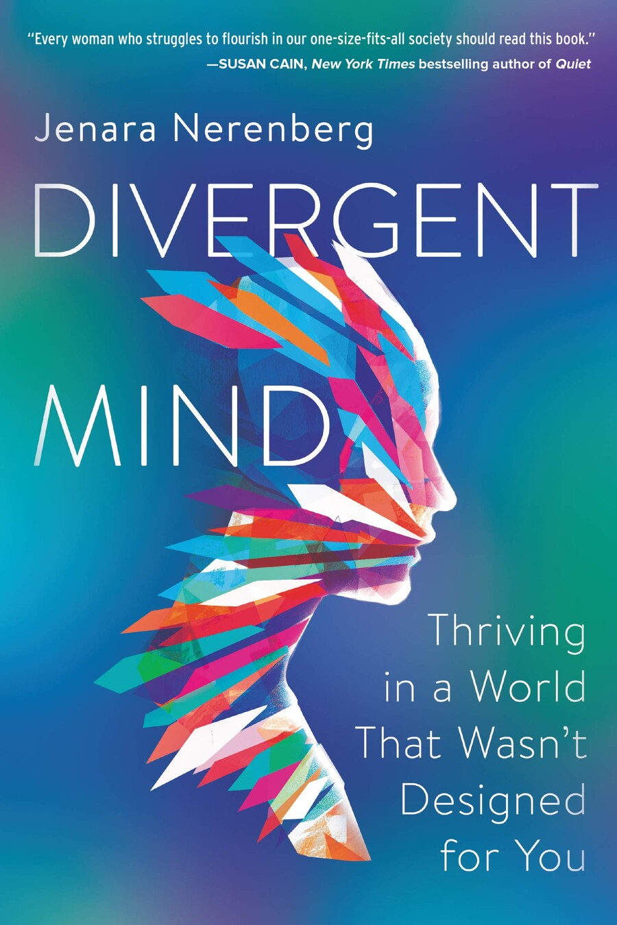 Divergent Mind, a blue book cover with an illustration of a person covered in shards of different shapes