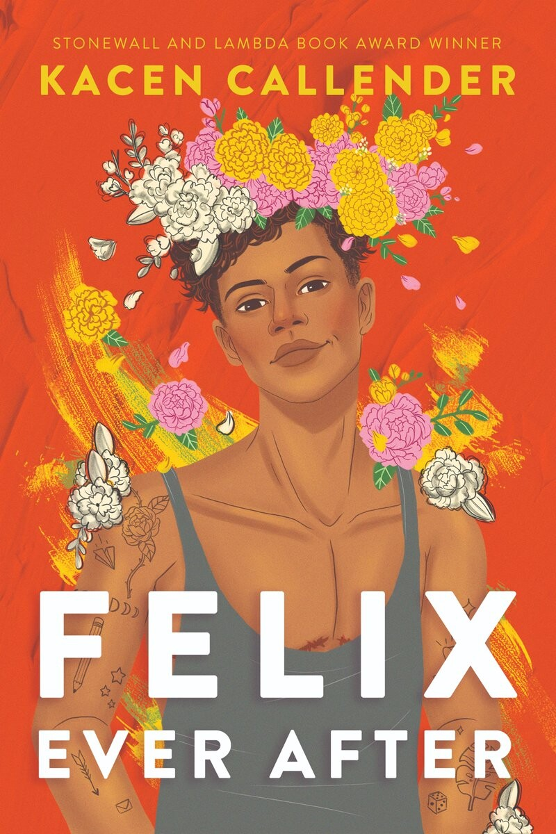 """The book club for """"Felix Ever Afte""""r by Kacen Callender, which features Felix, a brown character, wearing a flower crown."""