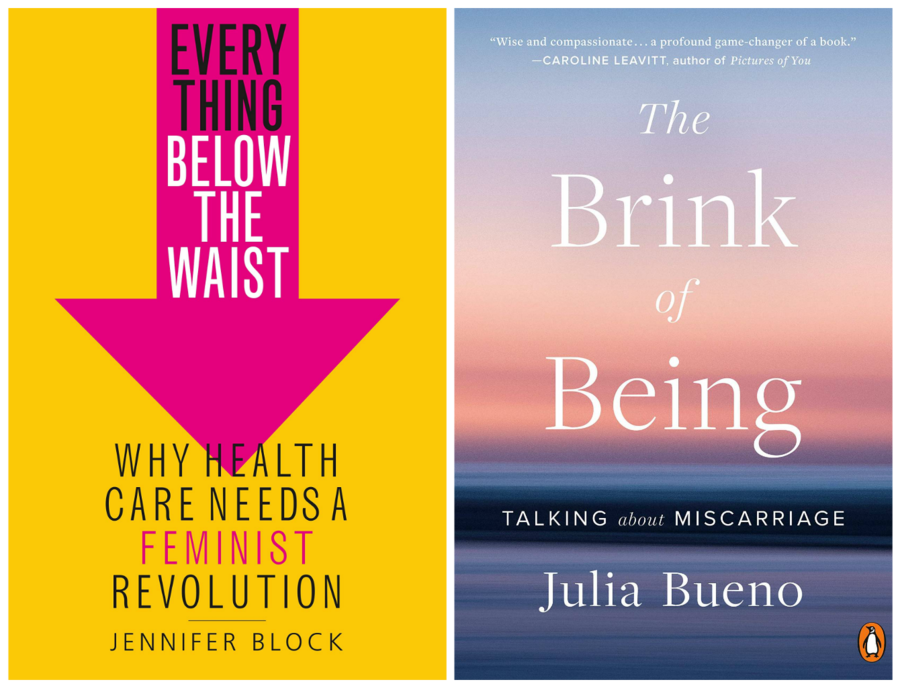a side-by-side photo of book covers—the left book cover is yellow and the right book cover is pink and purple