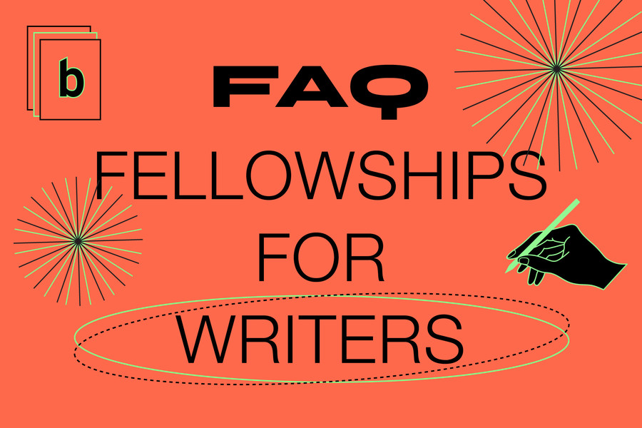 """red-colored image with icon illustrations and the words """"FAQ Fellowships for Writers"""""""
