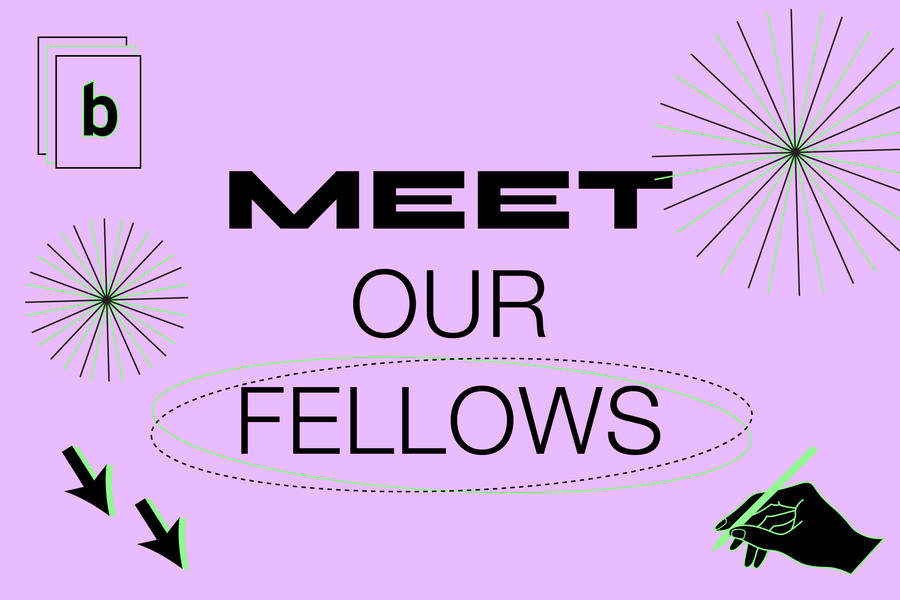 "light purple image with icon illustrations and the words ""Meet Our Fellows"""