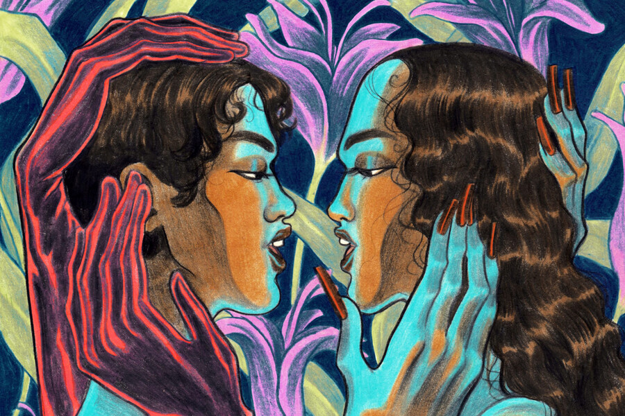 The colorful Broken Hearts & Beauty Sleep album cover features an illustration shows two people facing each other, embracing, and preparing to kiss