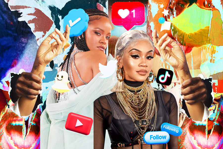 a collage of Saweetie, a lightskinned Black woman wearing a mesh shirt and gold chains, and Rihanna, a lightskinned Black woman wearing a light blue gown surrounded by imagery related to social media