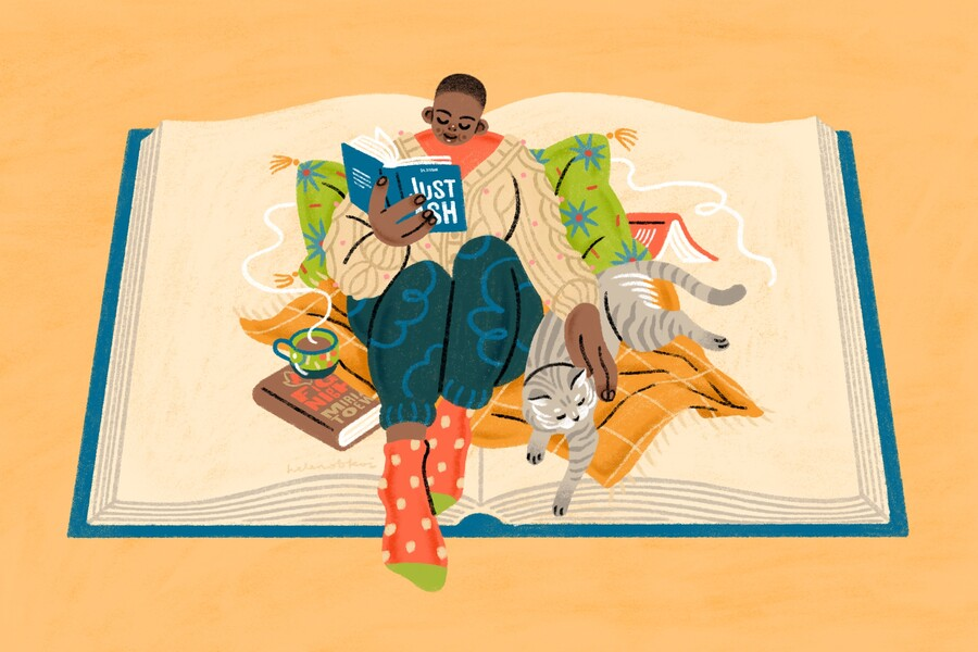 An illustration of a young Black woman with a shaved head sitting on a blanket inside a large open book. She is reading a book, petting a cat, and has a cup of coffee resting on another book.