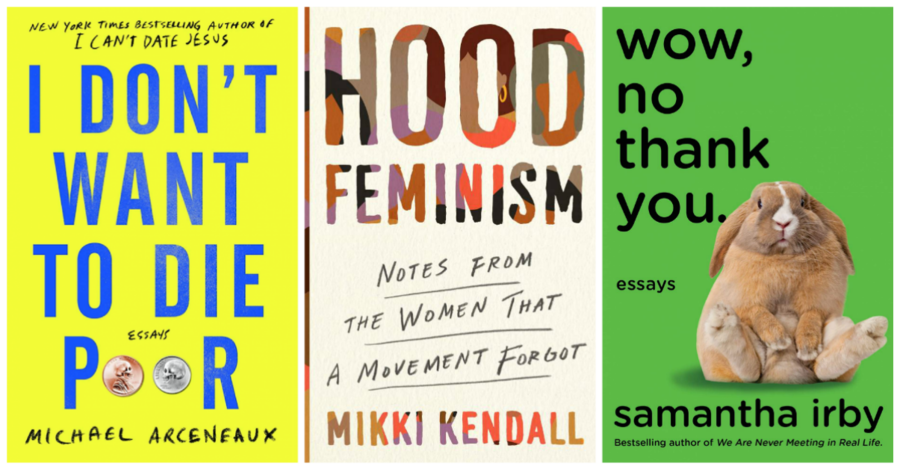 a side-by-side collage of three books: I Don't Want to Die Poor, Hood Feminism, and Wow, No Thank You
