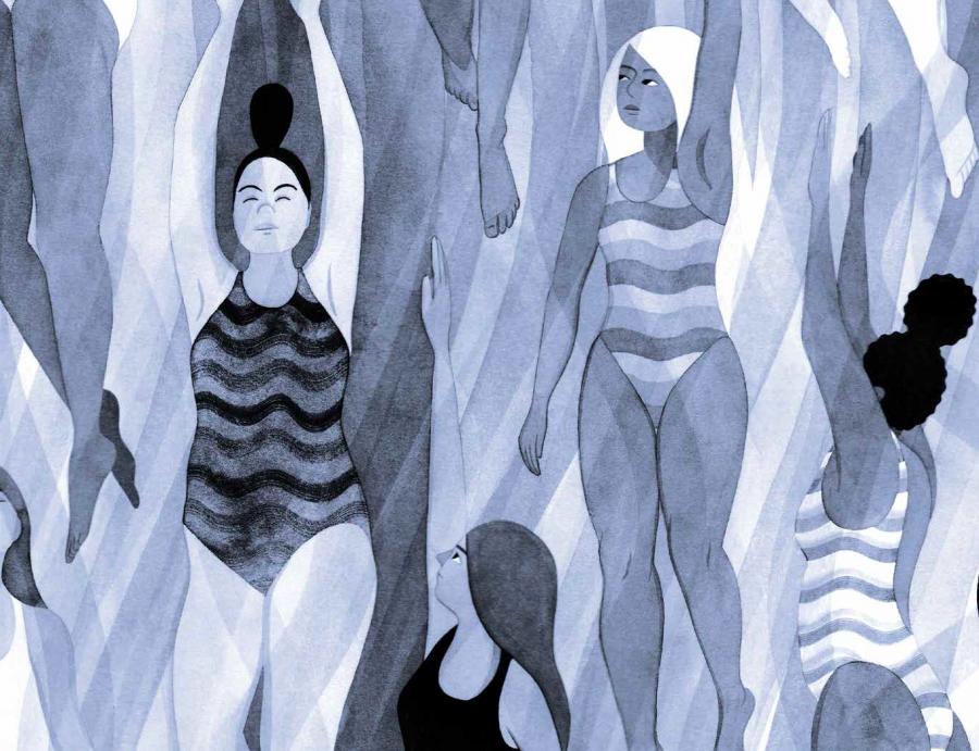Girls swimming illustration by Eleni Kalorkoti