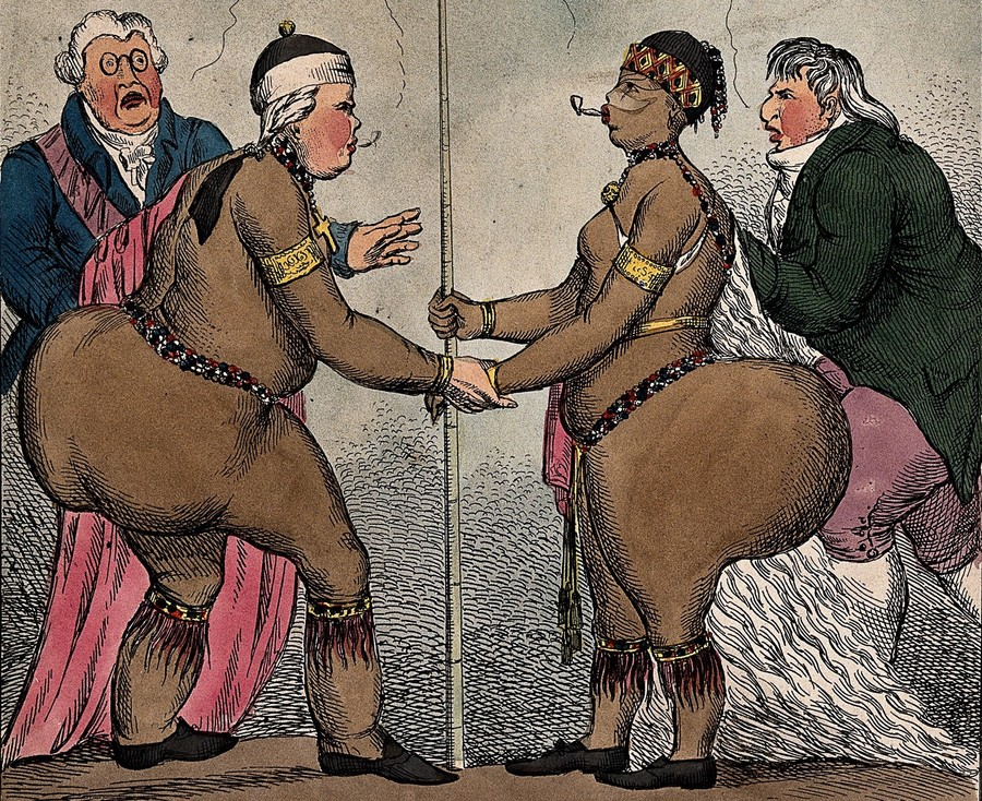 an illustration of a white woman and a black woman holding spears