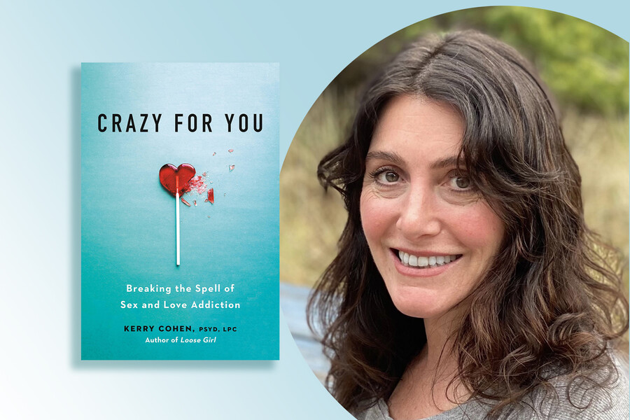 Author photo alongside book cover with heart-shaped lollipop