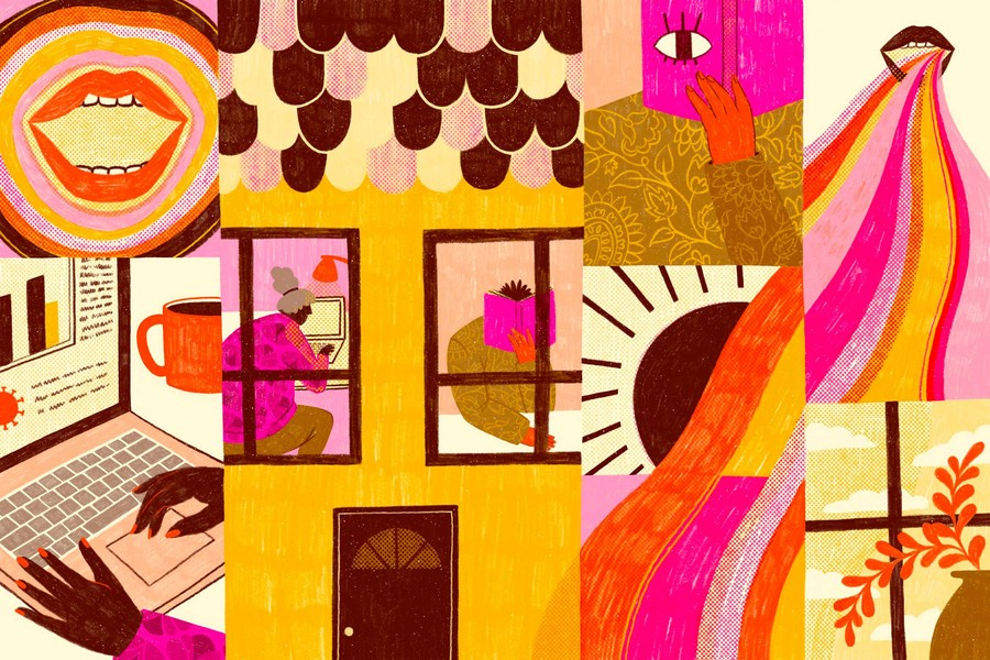 a colorful collage of illustrations of Black people being in close quarters during the quarantine