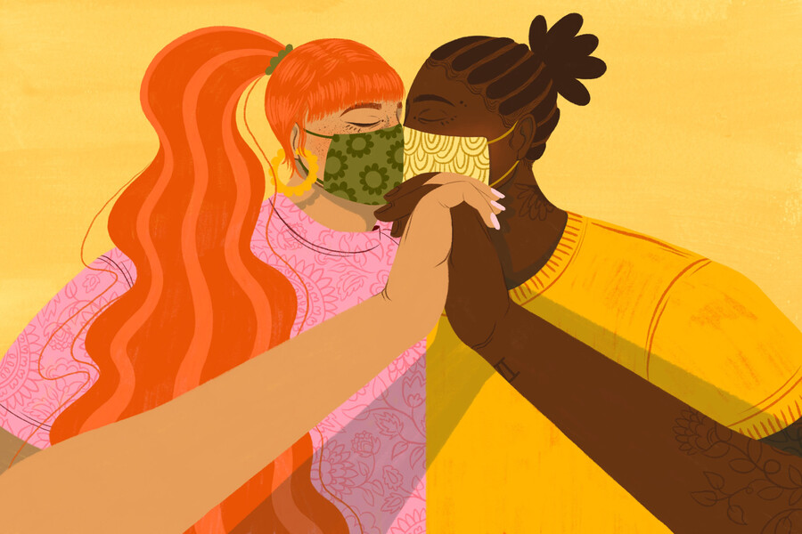 an illustration of two people, one brown-skinned and one dark-skinned, kiss in front of a yellow background as they both wear masks