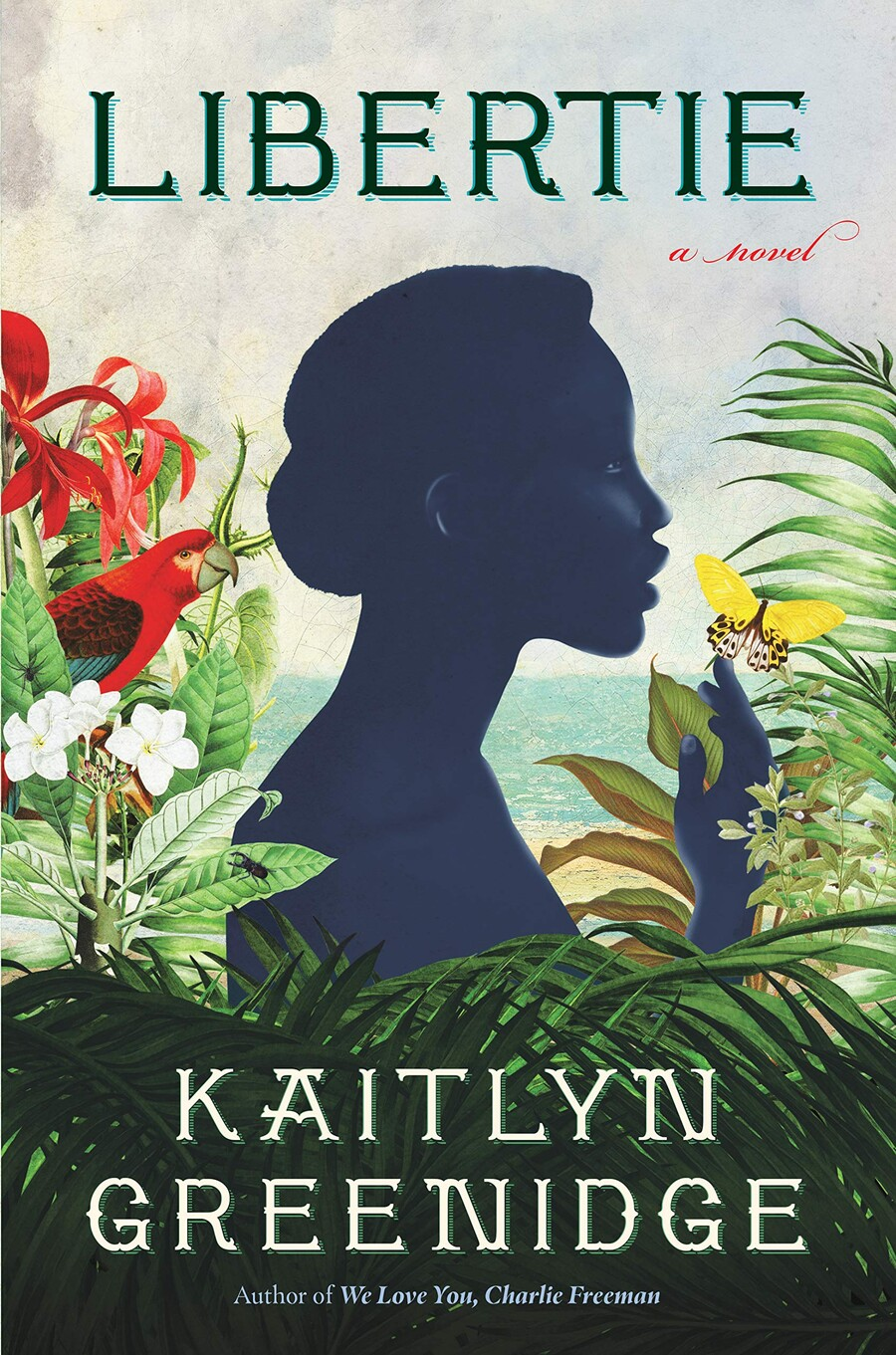 Libertie is a book cover that features an illustration of a dark-skinned woman in profile surrounded by an ocean in the background and flowers around her