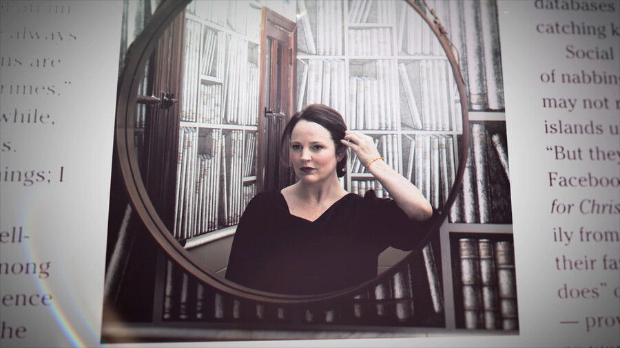 Michelle McNamara, a white woman with short, brown hair, stands in profile in a picture being looked at through a magnifying glass