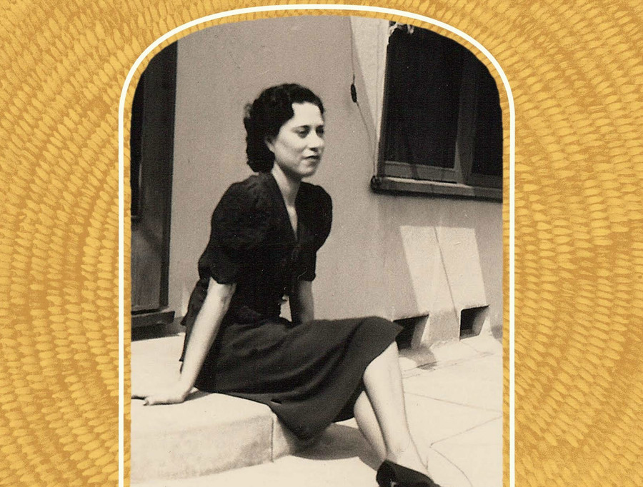 a yellow book cover with a Mexican woman pictured in the past