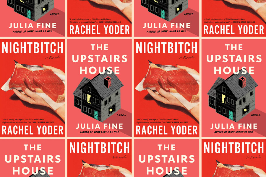 a collage of two books: The Upstairs Houseby Julia Fine andNightbitchby Rachel Yoder