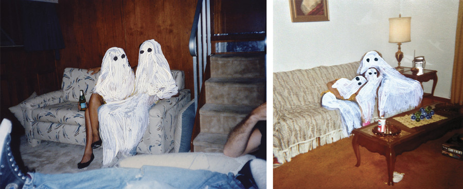 picture 1: Two painted ghost figures sit on a couch. Picture 2: Three ghosts cuddle on a couch.