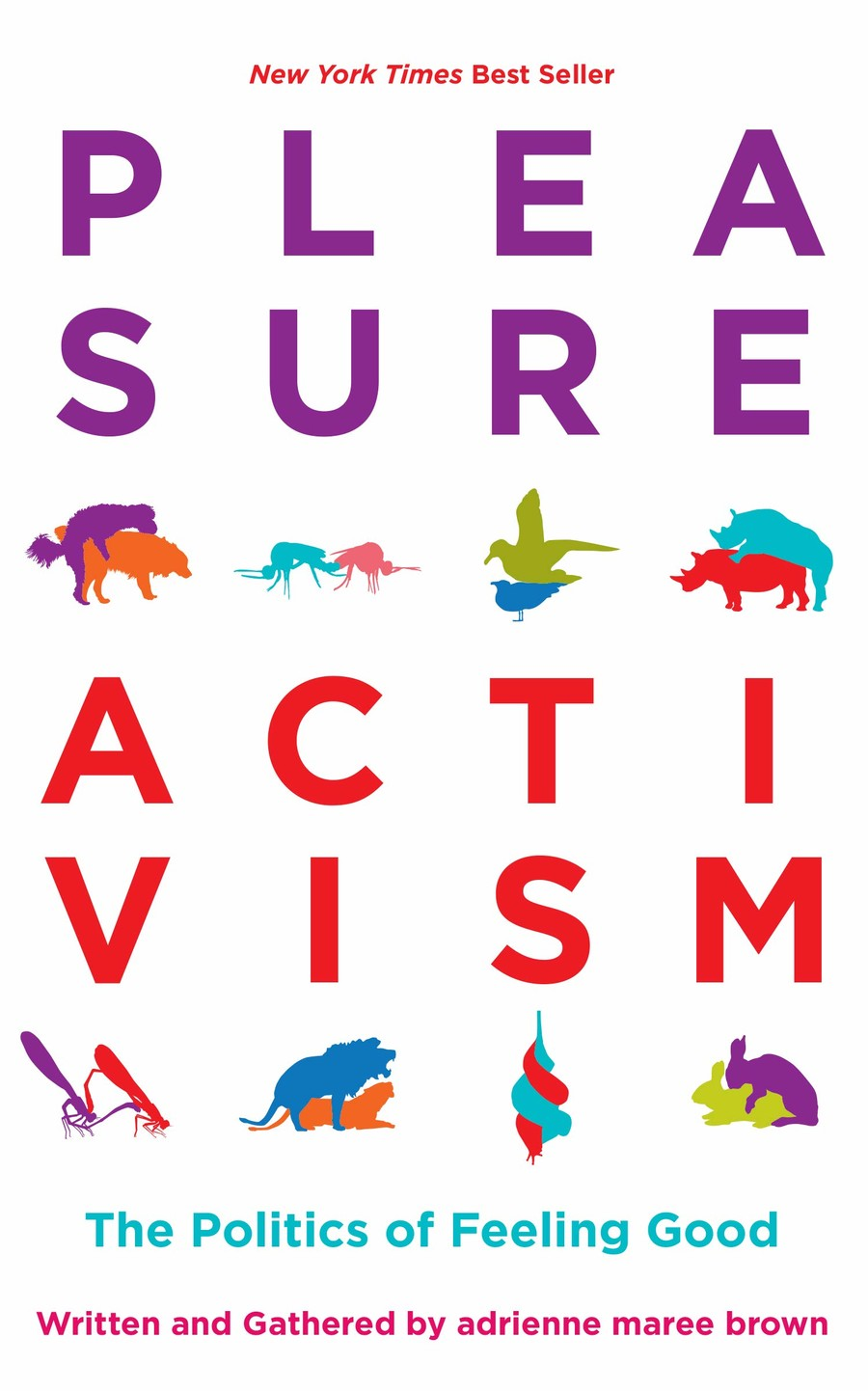 a white book cover with Pleasure Activism written in purple and blue letters