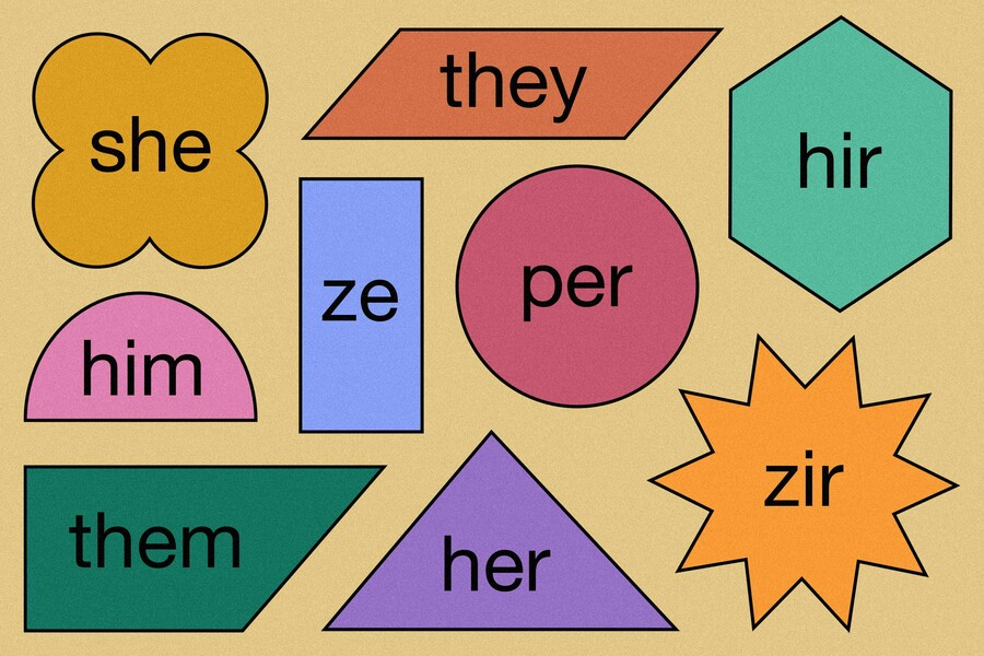 an illustration of geometric shapes in different colors that feature various pronouns, including she, they, zir, and hir