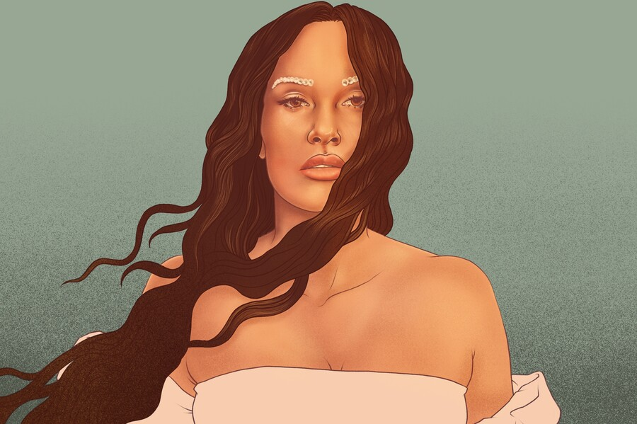 An illustration of singer Kacey Musgraves, a white woman with long brown hair flowing in the wind, wearing a strapless white dress and bedazzled eyebrows.
