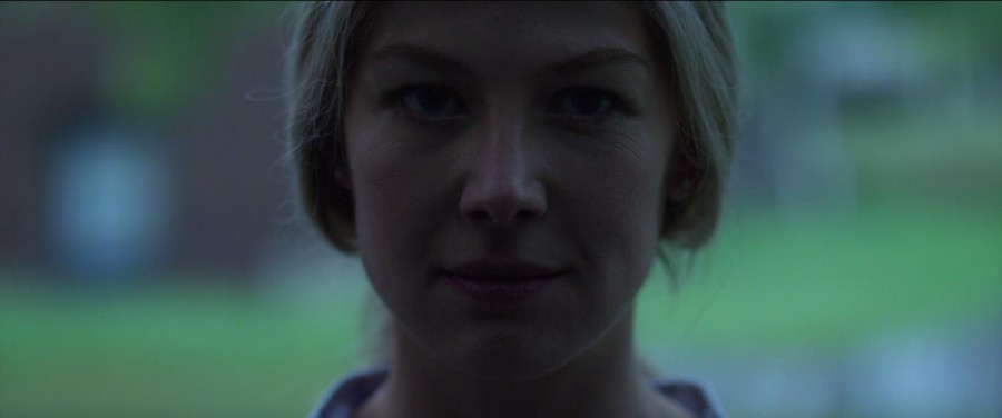 Rosamund Pike staring creepily into the camera in Gone Girl