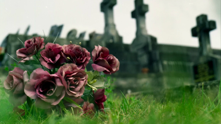 flowers on a grave site