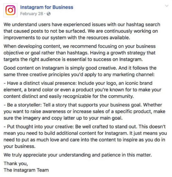 A screenshot of a now-deleted post on Instagram's Business account that details shadowbanning policies, stating that it's the result of hashtags.