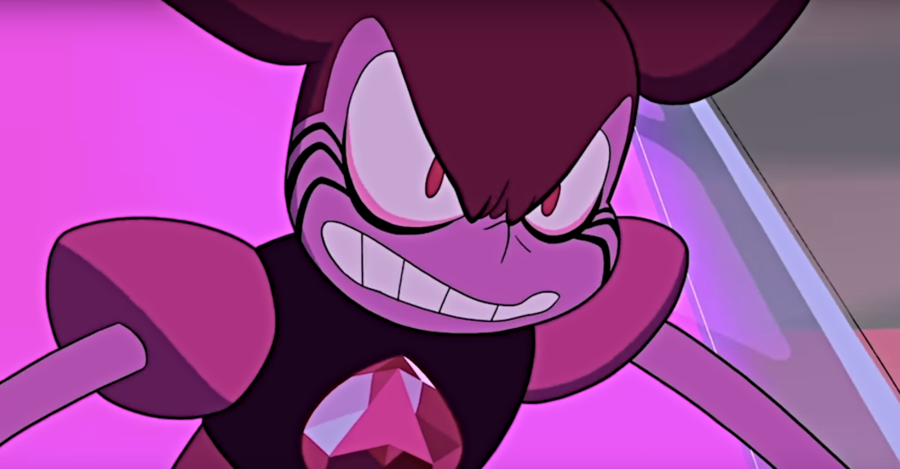 Spinel, a gem, who has pink skin, magenta eyes, a small pointy nose, and magenta hair that is styled into a pair of spiky pigtails.