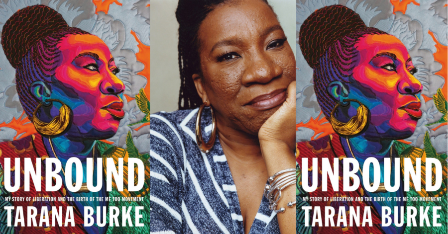 photo of the author flanked by images of Unbound book jacket