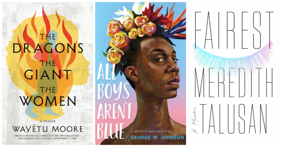 a side-by-side collage of three books: The Dragons, the Giant, the Women, All Boys Aren't Blue, and Fairest