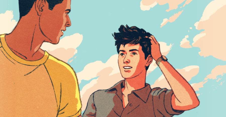 The cover of The Music of What Happens by Bill Konigsberg, which features the two main characters, Max, a gay biracial Mexican baseball player, and Jordan, a gay poet.