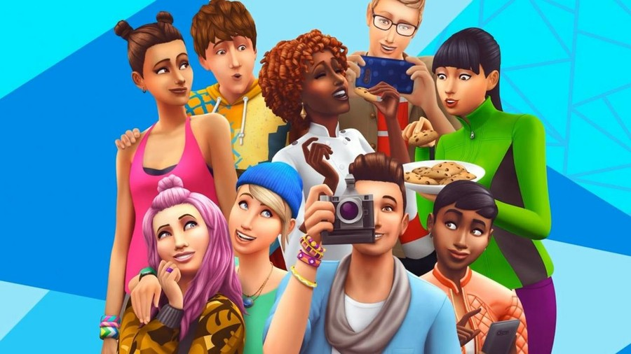 A photo of characters from the cover of The Sims 4