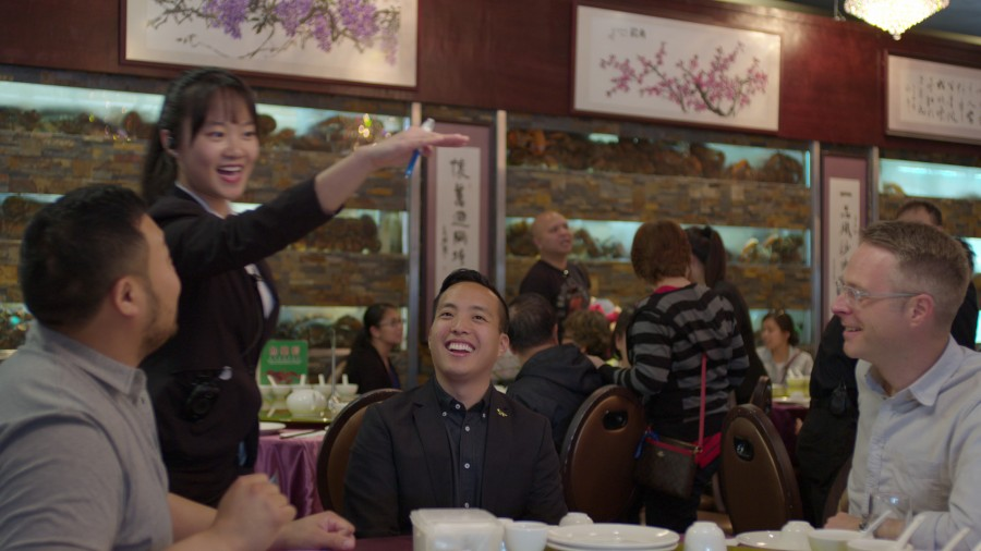 David Chang, Alan Yang, and Chris Nuttall-Smith in the fried rice episode of Ugly Delicious