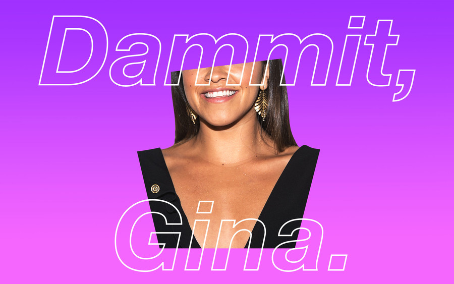 A photo of Gina Rodriguez collaged with the words,