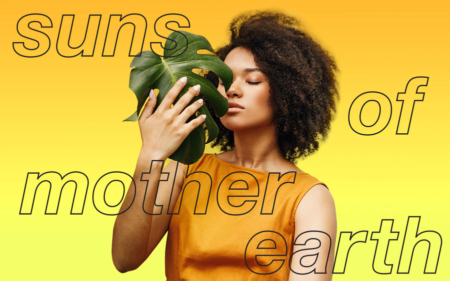 A black woman poses holding a large green leaf with her eyes closed in front of a yellow background.